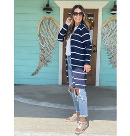 Ribbed Open Cardigan Navy & White