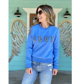 Blue Beaded LOVE Sweatshirt