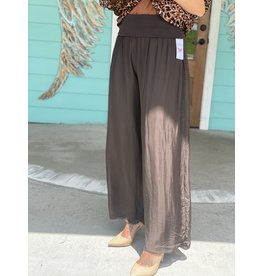 Knit Waist Silk Pant in Chocolate One Size