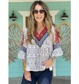 Mixed Print Bell Sleeve Top