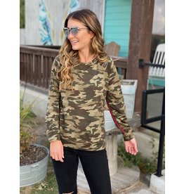Olive Camo Top w/Red Contrast Stripe