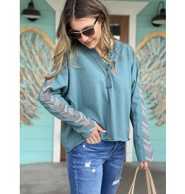 Mineral Teal Embroidered Slv Top