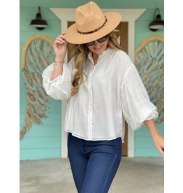 Puff Sleeve Button Down Top in White