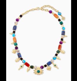 Kendra Scott Beaded Shiva Charm Necklace Gold Multi Mix