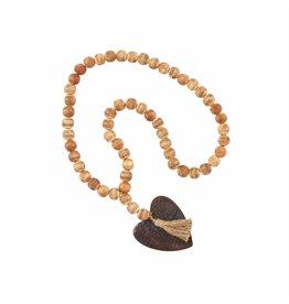 Beaded Wood Tassel w/ Heart