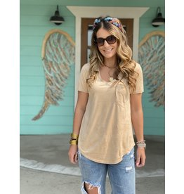 Another Love Phoenix Faux Suede Top in Tan