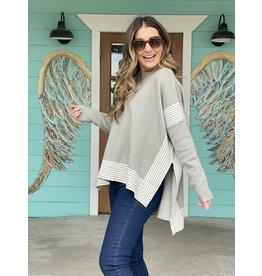 Sage Striped Cape Sweater