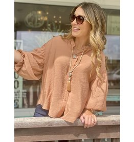 Puff Sleeve Button Down in Clay