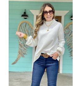 Mock Neck Balloon Sleeve Sweater -Cream