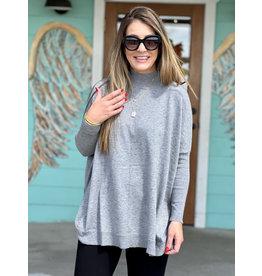 Mock Neck One Size Sweater - Grey