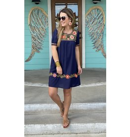 Navy Dress with Floral Embroidery