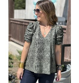 Olive Snake Print Ruched Sleeve Top