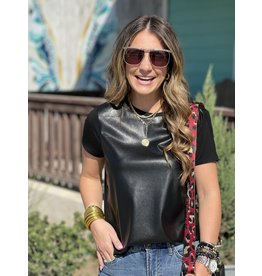 Faux Leather Black SS Top