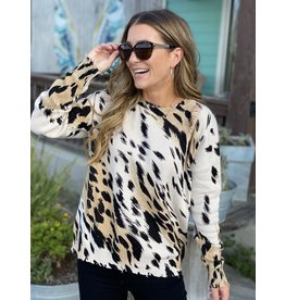Animal Print Distressed Sweater in Taupe