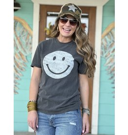 Smiley Face Graphic Tee in Charcoal