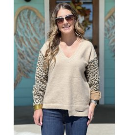 Natural & Leopard Sleeve Sweater