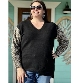Black & Leopard Plus Sweater