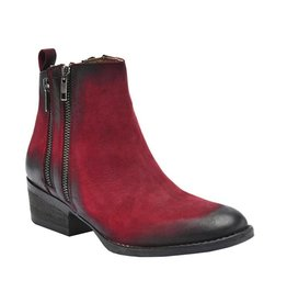Red Double Zipper Bootie- Q0023