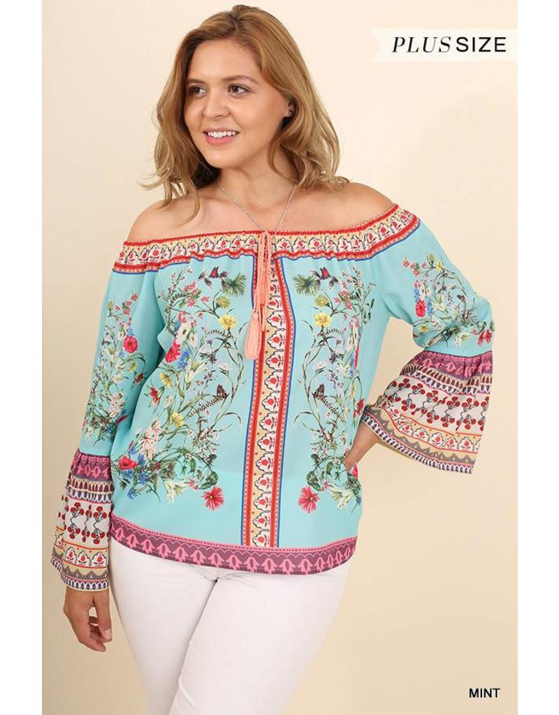 Mint OTS Floral Top W/ Bell Sleeves+