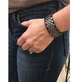 Black Leather Studded Bracelet