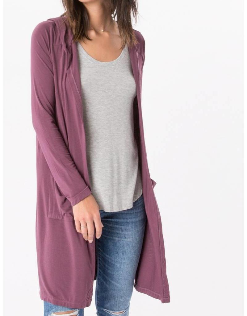 Z Supply Sleek Jersey Duster in Wine