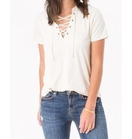 Z Supply Faux Suede Lace-Up Tee in Ivory