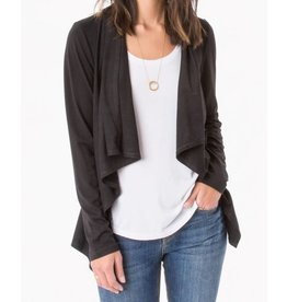 Z Supply Suede Waterfall Cardigan Black