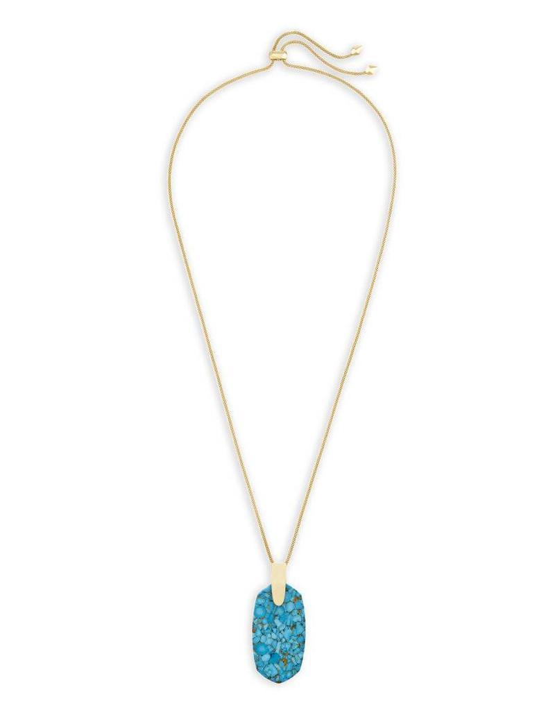 Kendra Scott Kendra Scott Inez Necklace Gold Bronze Veined Turquoise