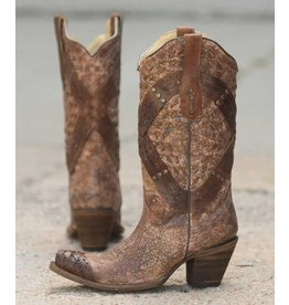 Corral Corral Cognac Crossed Studded Strap Boots- A2990