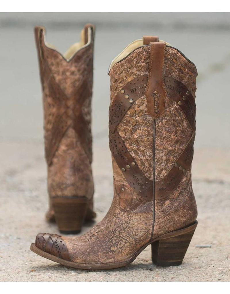 Corral Cognac Crossed Studded Strap Boots- A2990
