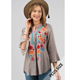 Stone Embroidered Plus Top - 649