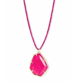 Kendra Scott Beatrix Necklace in Gold Pink Agate
