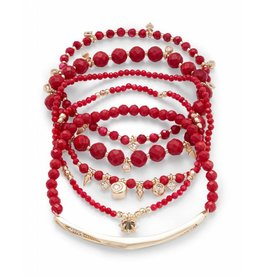 Kendra Scott Supak Bracelets in Gold Red Mix