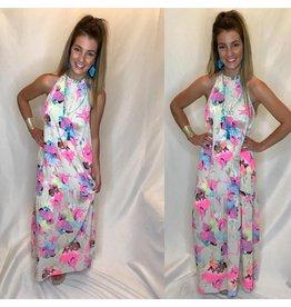 Pink Ivy Print Maxi Dress
