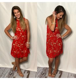 Tomato Red Lace Dress