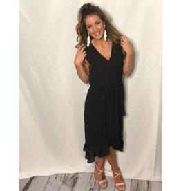 Black Ruffle Sleeve Hi-Low Dress