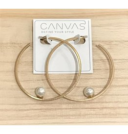 Canvas Floating Pearl Hoop Earrings