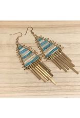 Gold Turquoise Beaded Dangle Earrings