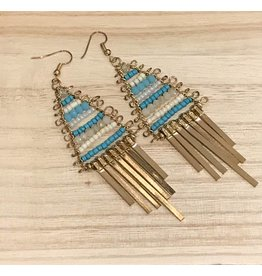 Gold Turquoise Beaded Dangle Earrings