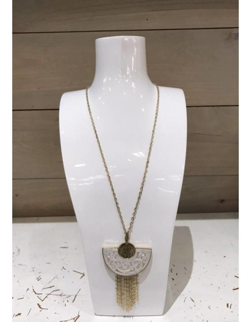 Ivory and Gold Fan Filigree Necklace