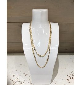 Endless Linked Disc Necklace in Gold