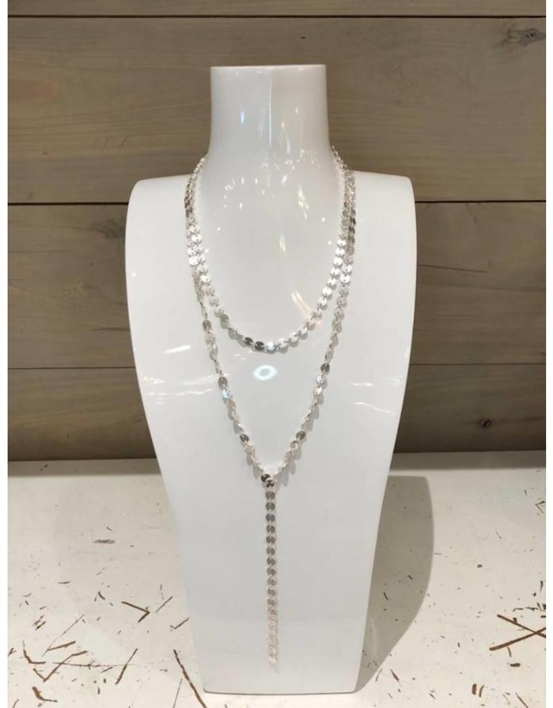 Canvas 2 Row Linked Disc Y Necklace Silver