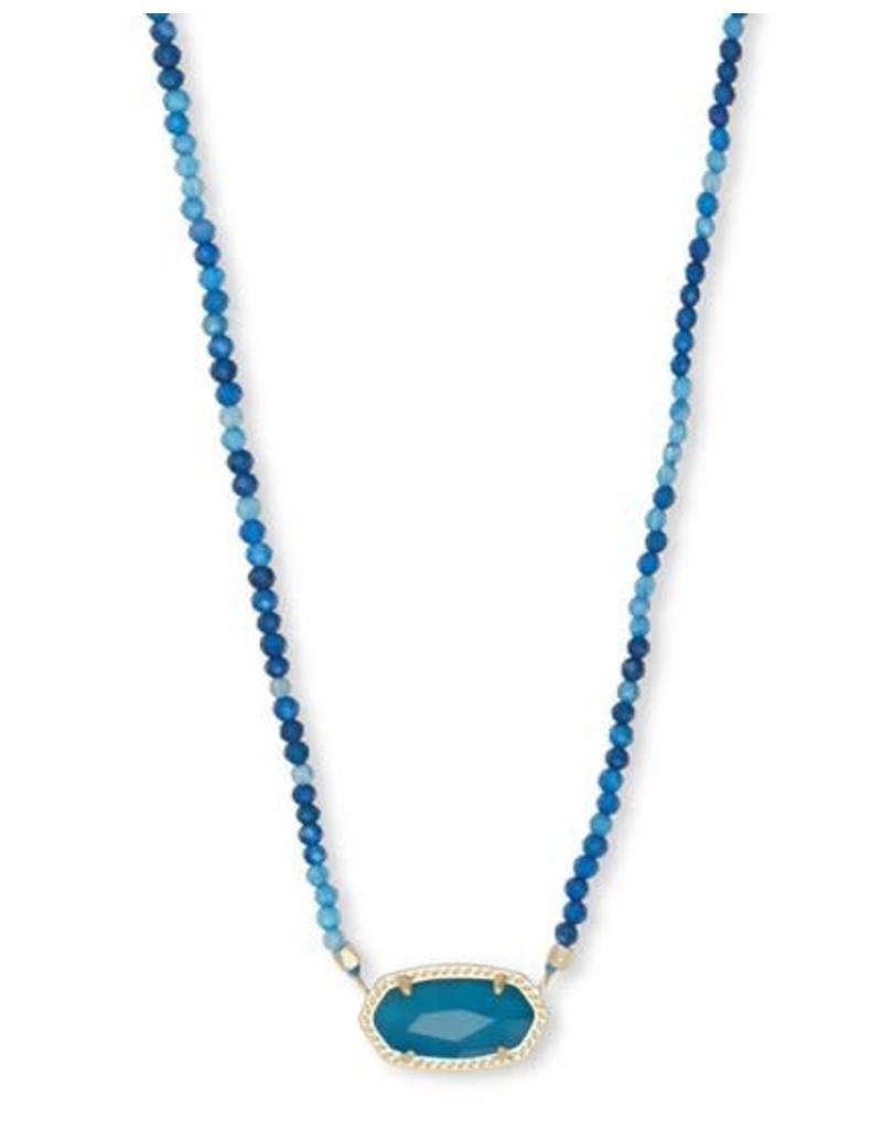 Kendra Scott Elisa Beaded Necklace Gold Teal Unbanded Agate