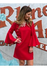 Bell Sleeve Red Dress