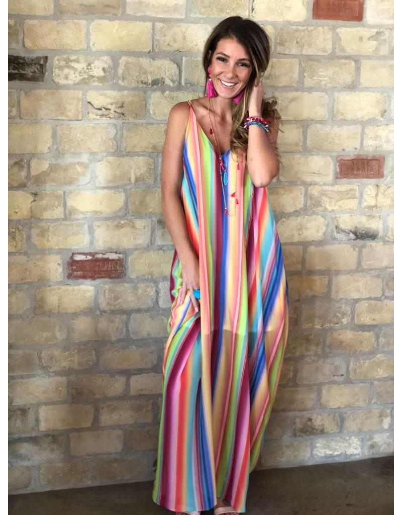 Rainbow Stripe Maxi Dress V-Neck