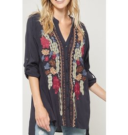 Navy Embroidered Top w/ Rolled Sleeves +