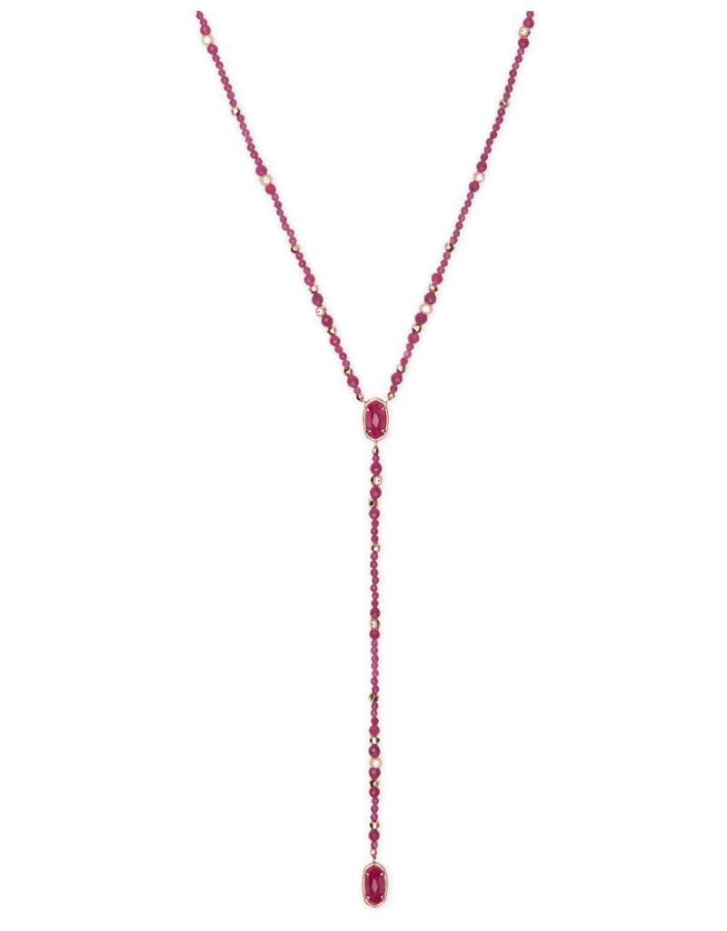 Kendra Scott Bethany Necklace in Rose Gold Maroon Jade