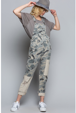 Pol Clothing Gray Camouflage Patch Overalls