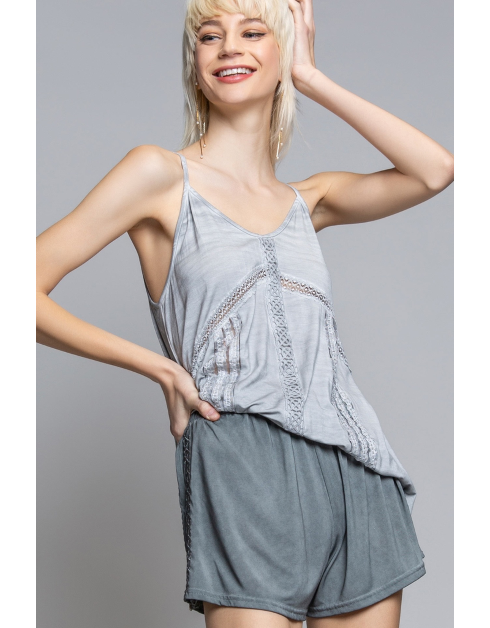 Pol Clothing V-Neck Tank Top with Lace Trim