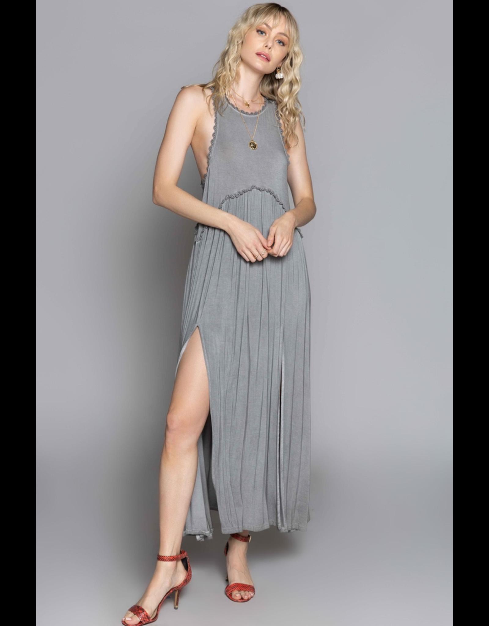 Pol Clothing Racer Babydoll Bodice Maxi Dress with Slit